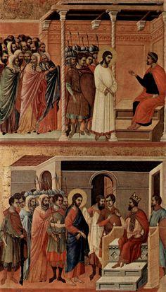 Маэста, алтарь сиенского кафедрального собора, оборотная сторона, Регистр со сценами Страстей Христовых: Христос перед Пилатом