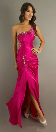 Sexy Fuchsia Glamour Gown Open Back and Front Slit One Shoulder