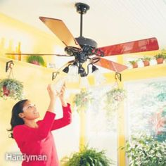 Switch Your Ceiling Fan Direction Ceiling fans should turn clockwise in the colder months, which pushes warm air back down into the room. Most fans have a simple switch that reverses the direction. Plus: How to Balance a Ceiling Fan Ceiling Fan Wiring, Ceiling Fans, Ceiling Lights, Ceiling Fan Direction, Diy Home Repair, Home Repairs, Do It Yourself Home, Home Hacks, Home Improvement Projects