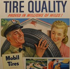 Mobilgas MOBIL TIRES Vintage Illustration Advertisement Automotive by Christian Montone, Retro Advertising, Vintage Advertisements, Vintage Ads, Vintage Posters, Retro Ads, Nostalgia, Car Illustration, Vintage Artwork, Vintage Illustrations