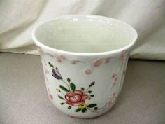shopgoodwill.com: White Floral Bowl Planter Vase - Made in Italy