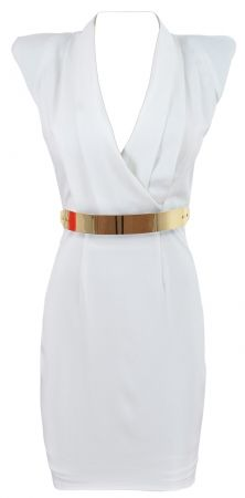 'AURORA' WHITE PLEATED V NECK STRONG SHOULDER DRESS  |  celeb boutique  |  $157