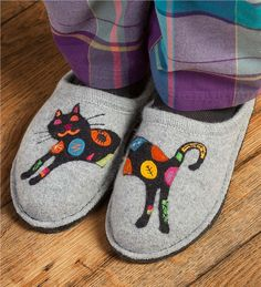 Boiled Wool Cat Slippers with Non-Slip Soles