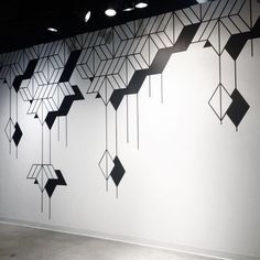 I believe this wall mural to be simplistic and uses shapes to create a visually appealing design. I believe my group can draw inspiration from this mural to create a simplistic wall mural design if we were to pick a simplistic theme. Simple Wall Paintings, Wall Painting Decor, Wall Decor, Tape Wall Art, Diy Wall Art, Wall Art Designs, Paint Designs, Geometric Artwork, Cafe Wall