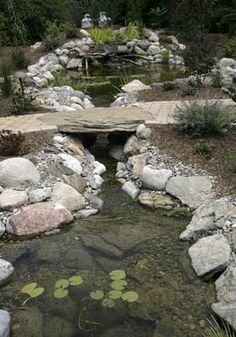 Backyard Pond, Stream with Bridge, Landscape Design