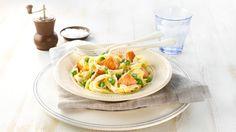 Oppskrift på Kremet pasta med laks, foto: