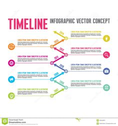 Infographic Vector Concept In Flat Design Style - Timeline Template Stock Vector - Image: 42640957