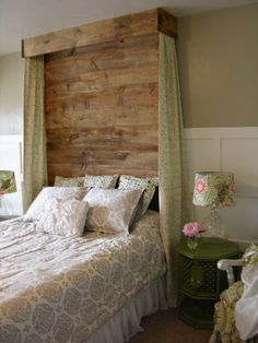 DIY Headboard Tutorial...could do a white wash finish on the wood to go with the grey walls!