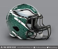 Philadelphia Eagles - NFL Concept Helmet by Paul Bunyan Design New Football Helmet, Sports Helmet, Nfl Football, American Football, Football Stuff, Football Players, College Football, Philadelphia Eagles Helmet, Nfl Philadelphia Eagles