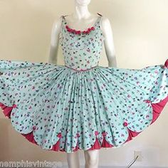 Twitl the night away in this adorable dress!  Vintage 1950s novelty floral print dress just listed in our Etsy and eBay store. #1950s #50s #vintageclothing #rockabillydress #rockabilly #swingdress #noveltyprint #fitandflare #vintagedress #memphisvintage