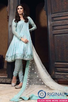 8565206671 Maria B D-403 Sea Green Lawn Eid Collection 2017 1 Pakistani Party Wear,