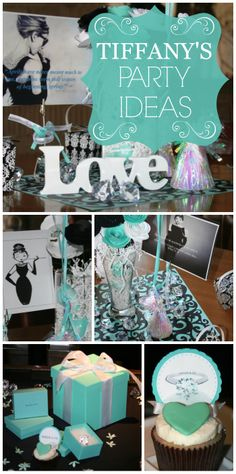 A lovely bridal shower with a robin's egg blue Tiffany theme decorated with roses and diamonds!  See more party ideas at CatchMyParty.com!