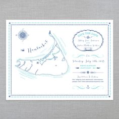 THE ILLUSTRATED ISLANDS • SAVE THE DATES • NANTUCKET, MA: The Ice Cream Social Illustrated Island series is a beautiful tri-fold map inspired Save The Date, perfect for any coastal themed wedding! Available in many other locations.