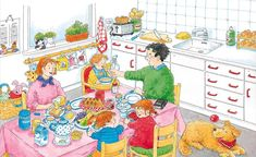 Dans une cuisine à table (c) Dagmar Stam Speech Therapy Activities, Language Activities, Educational Activities, Writing Pictures, Picture Writing Prompts, Communication Orale, English Fun, English Class, Fun Worksheets