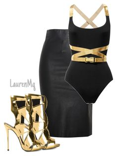 """Untitled #275"" by laurenmq ❤ liked on Polyvore featuring Relaxfeel, Michael Kors, Giuseppe Zanotti, women's clothing, women, female, woman, misses, juniors and gold"