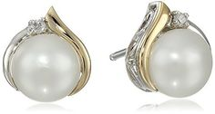 Save over 50% now at Mother's Day Gifts 4 You.Sterling Silver and 14k Yellow Gold Freshwater Cultured Pearl (7 mm) with Diamond Accents Stud Earrings.