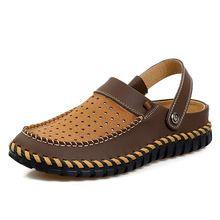 Calidad superior de piel de Vaca Zapatos Del Agujero Del Verano Hombres Zapatos Del Jardín Sandalias de Playa Zapatillas de Cuero Genuino Hombres Zapatos Mulas y Zuecos GMS049(China (Mainland))