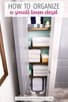 Learn how to organize a small linen closet with these easy tips and tricks that will have your sheets and towels looking neat and tidy in no time! | #linencloset #smalllinencloset #linenclosetorganization #organizedlinencloset Linen Closet Organization, Organization Hacks, Organizing Tips, Wire Shelving, Wooden Shelves, Collapsible Laundry Basket, Small Linen Closets, How To Fold Towels, Bath Sheets
