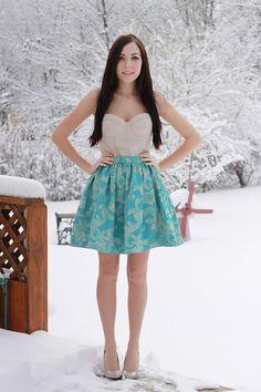 Aqua Blue Regal Gathered Skirt  Size SMALL by shopflattery on Etsy, $40.00