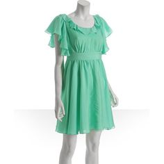 Walter mint chiffon ruffle cutout back dress ($161) ❤ liked on Polyvore