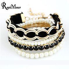 6504f023624b Fashion Pulseiras Femininas Jewelry Multilayers Imitation Pearl Bracelets    Bangles For Women Pulseras Mujer Bijoux Femme Perlas-in Chain   Link  Bracelets ...