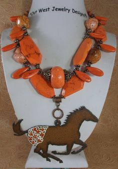 Cowgirl Necklace Set  Chunky Orange Turquoise with an Appaloosa pendant by Outwestjewelry