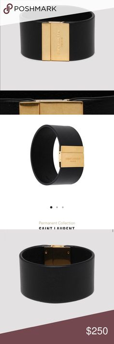 AUTHENTIC Saint Laurent Black Cuff Bracelet - NEW AUTHENTIC Saint Laurent Black Cuff Bracelet (Brand New) - One Size  NEVER BEEN WORN  AUTHENTIC Black calf leather ID cuff bracelet from Saint Laurent with logo-engraved golden metal square magnetic clasp closure, patinated gold-tone metal hardware.  SKU: 542012BOO0J-1000 Compositions: 100% CALF LEATHER Size Chart: ONE SIZE Gender: WOMAN season: SS192019 Shipped with USPS First Class Package or Fed Ex Next day Delivery     -No Returns (Sale is Final) Saint Laurent Jewelry Bracelets
