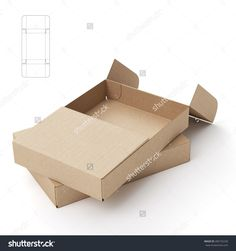 Slim Symmetric Retail Open Empty Box With Die Cut Template Stock Photo 285732239 : Shutterstock