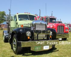 A beautifully restored old Mack truck. One of the well known classic semi trucks.