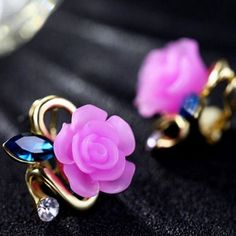 How nice Cute Rose Sapphire Diamond Gilded Lady Elegant Earring Studs ! I like it ! I want to get it ASAP!