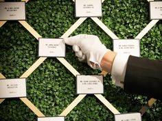 Sure, we've seen escort card displays aplenty, but not many with an attendant donning white gloves! Complete the look with glamorous Gatsby-like card font, and a background of lush green foliage for a seriously impressive start to a reception