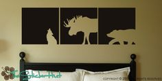 Wolf Moose Bear Block Squares Panels Wall Art Graphics Lettering Decals Stickers 719. $34.00, via Etsy.