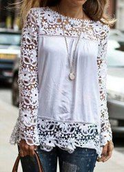 Stylish Round Neck Long Sleeve Spliced Hollow Out Blouse For Women (WHITE,XL) | Sammydress.com Mobile