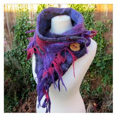 A Beautiful Tattered Pixie Nuno Felted Scarf Wet by Cocoleeko