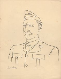 SEARLE RONALD: (1920-2011) British Artist & Cartoonist. An excellent original black pen and ink drawing signed by Searle, one page, 4to, n.p., n.d. (c.1940?). Searle has drawn a head and shoulders study of a military officer in uniform. Signed ('Ronald Searle') at the base of the drawing.
