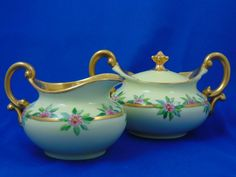 Tressemann & Vogt (T&V) Limoges Arts & Crafts Pink Floral Motif Creamer & Sugar Set (c.1892-1907)
