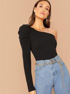 Shein One Shoulder Puff Sleeve Rib-knit Top Fashion News, Girl Fashion, Fashion Outfits, Neon Yellow Tops, Elegantes Outfit, One Shoulder Tops, Shoulder Cut, Shoulder Sleeve, Embroidery Fashion