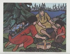 Nokomis painting of three Ojibwa women picking blueberries in August. Hero's Journey, 5 Image, Indigenous Art, Native Art, Different Colors, Nativity, North America, Native American, Photo Galleries