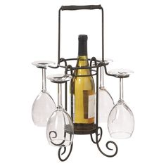 Scrolling metal wine caddy. Holds 1 bottle and 4 glasses.   Product: Wine caddyConstruction Material: Iron...