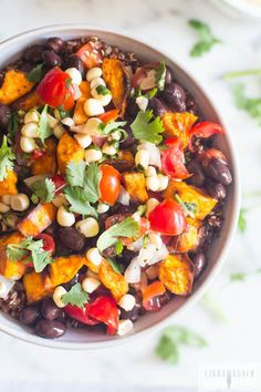 Vegetarian Sweet Potato  Black Bean Burrito Bowl - Its dairy-free, gluten-free, vegan, low in fat, high in protein, and loaded with vegetable nutrition!