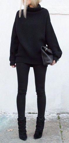 #winter #fashion / black turtleneck knit
