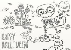 Free skeleton Halloween coloring page printable at Vice Vega