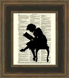 Reading Girl Silhouette Dictionary Art Print, Antique Dictionary Page, Silhouette Art, 122. $ 10.00, via Etsy.