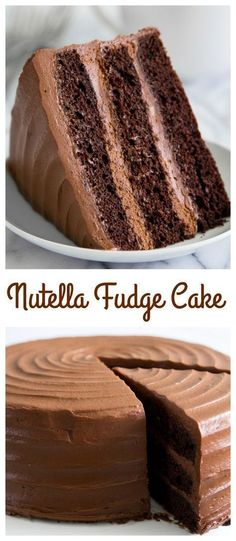 3 layers of fudge cake smothered between a Nutella cream cheese frosting Posted By No Bake Desserts, Just Desserts, Delicious Desserts, Dessert Recipes, Baking Desserts, Frosting Recipes, Cupcake Recipes, Nutella Fudge, Nutella Frosting