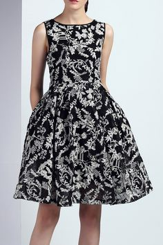 18cheng Black Embroidered Fit And Flare Dress | Knee Length Dresses at DEZZAL