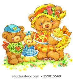 Grandmother and grandson. Bear Cartoon, Portfolio, Congratulations, Royalty Free Stock Photos, Teddy Bear, Watercolor, Illustration, Animals, Party