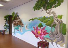 muurschildering samenstelling fragmenten uit Indonesië voor Indisch Moluks zorghuis.
