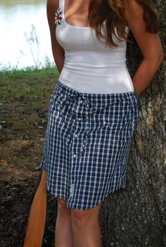 tartan plaid upcycled paperbag drawstring skirt by simplyelemental