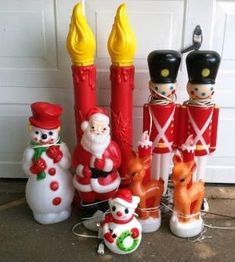 santa snowman candles soldiers and reindeer blow molds by lesley vintage holiday