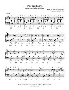 We Found Love by Rihanna featuring Calvin Harris Piano Sheet Music | Intermediate Level
